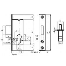 SAG 18400 Heavy Duty Narrow Stile Small Case Euro Profile Deadlock