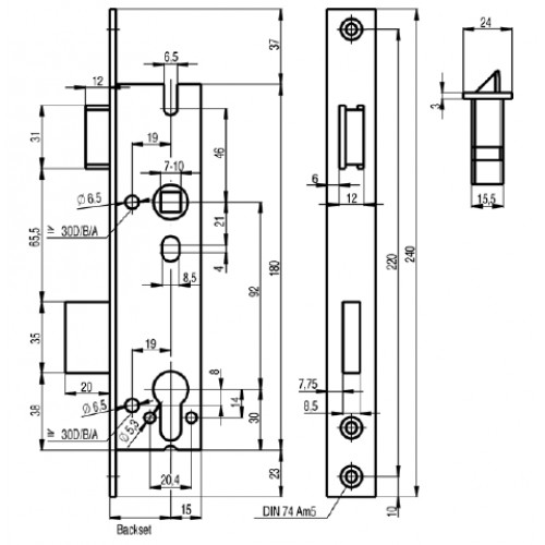 Sag 18407wo Heavy Duty Narrow Stile Euro Profile Sashlock