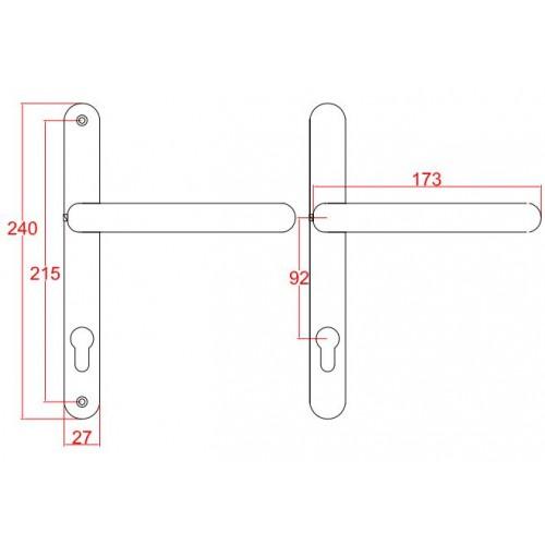 De Upvc Door Handles Extended Backplate 92mm Lever Lever